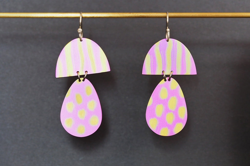 Pink Gold Stripe & Spot Earrings
