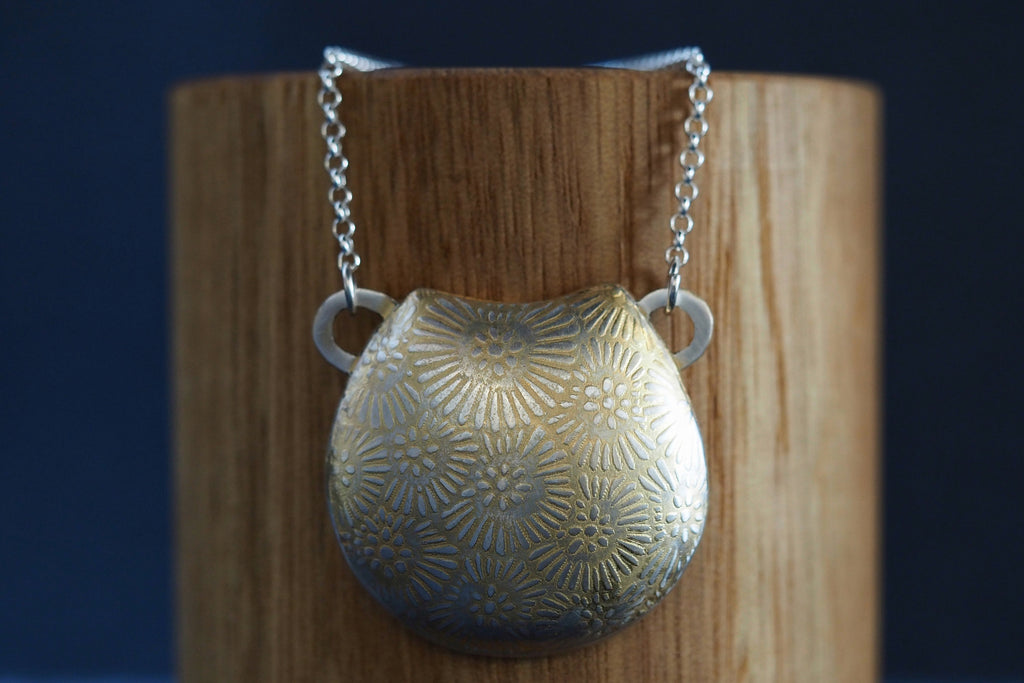 Gold Plated Floral Vessel Necklace