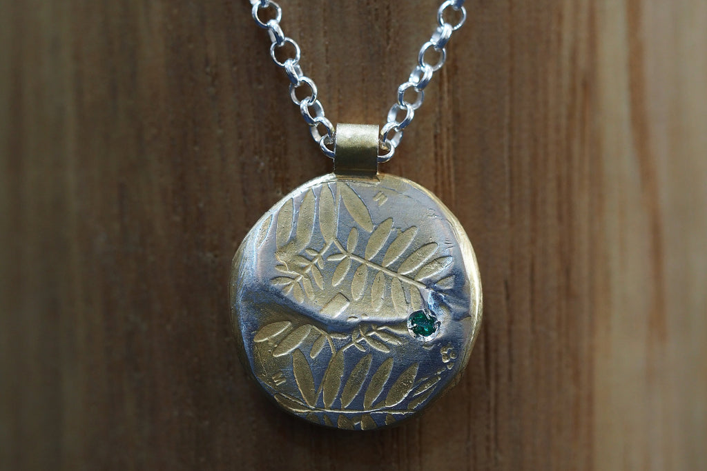 Gold Plated Leaves Pendant with Emerald