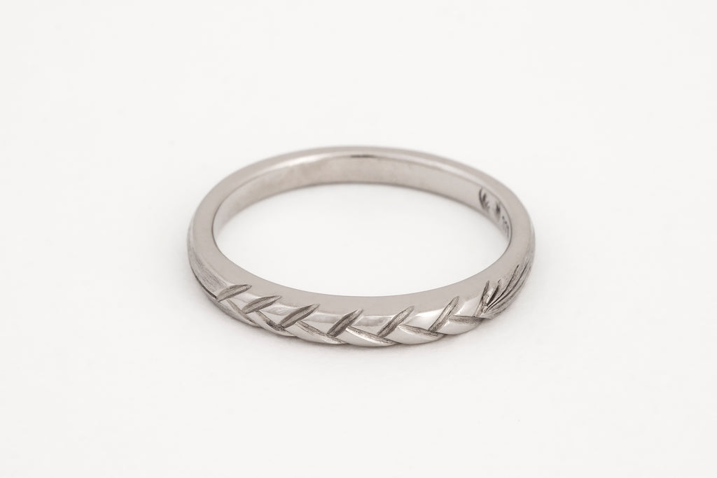 Wheat Ring White Gold
