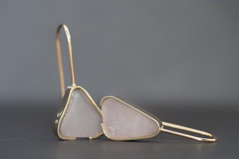 Lavender Beach Glass Earrings Gold