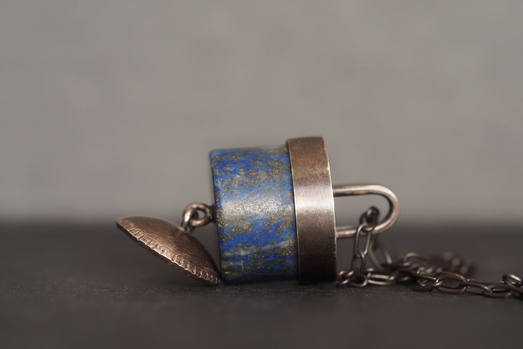 Lapis Bell Necklace Oxidised Silver