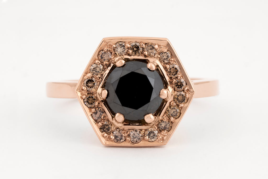 Gwendolyn Black Diamond Halo Ring