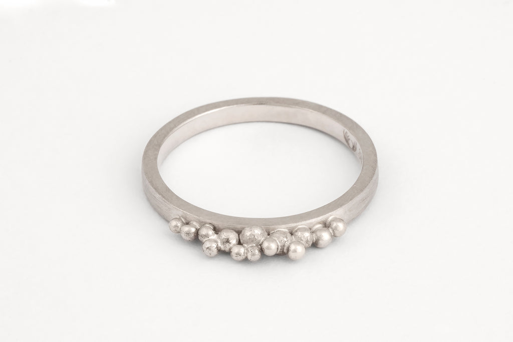 White Gold Granule Ring