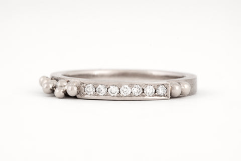 White Gold Granule Diamond Ring