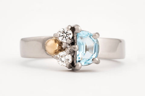 Aquamarine and Diamond Assymetric Ring