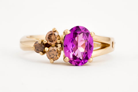 Asymmetric Pink Sapphire and Cognac Diamond Ring
