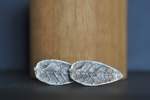 Oxidised Silver Leaf Cufflinks