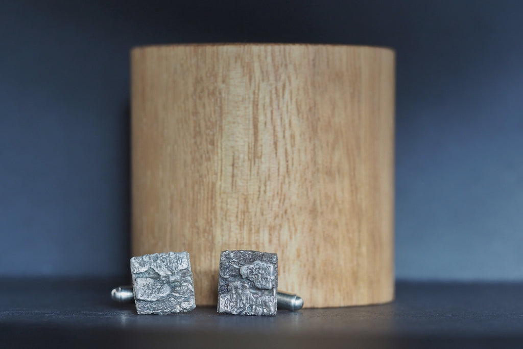 Oxidised Silver Bark Cufflinks