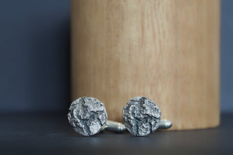 Oxidised Round Silver Bark Cufflinks