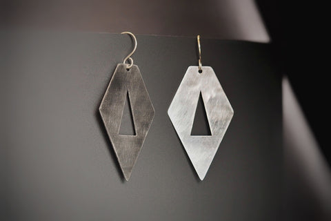 Brushed Stainless Steel Pentagon Segment Earrings