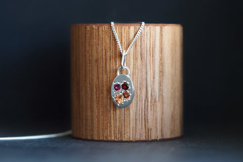 Silver Pendant with Colourful Garnets