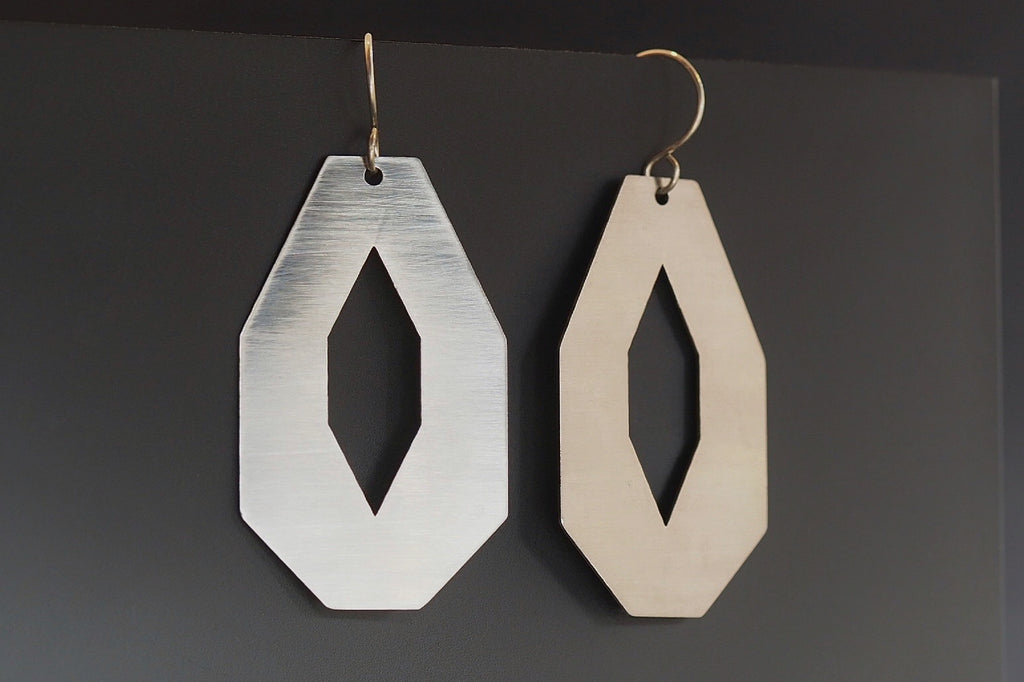Brushed Stainless Steel Octagon Segment Earrings