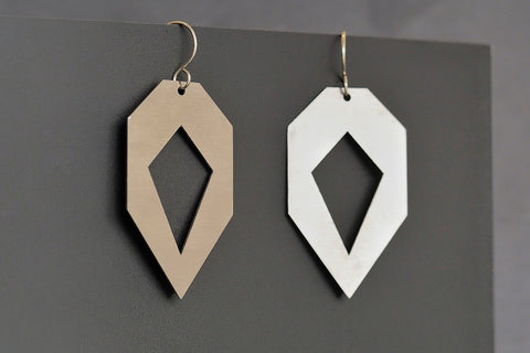 Brushed Stainless Steel Heptagon Segment Earrings