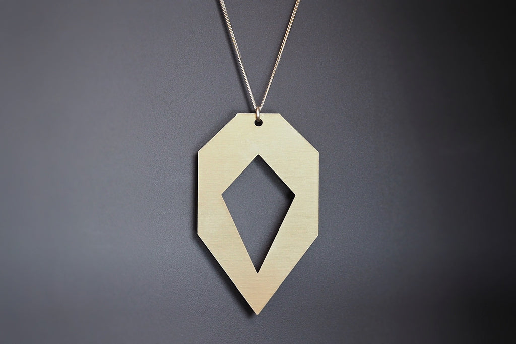 Gold Aluminium Heptagon Segment Necklace