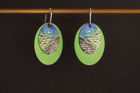 Green Double Oval Earrings