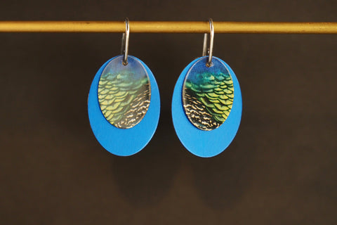 Blue Double Oval Earrings