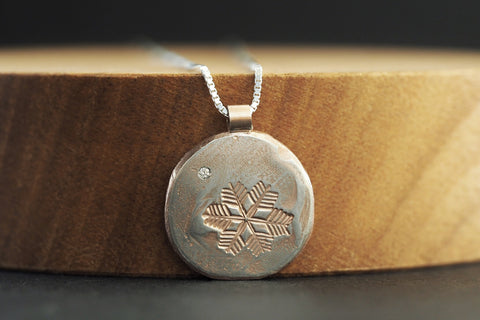 Rose Gold Plated Snowflake Pendant with Diamond