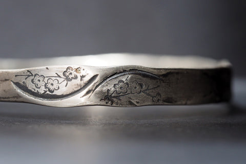 Blossom Bangle in Sterling Silver and Oxidised Detail