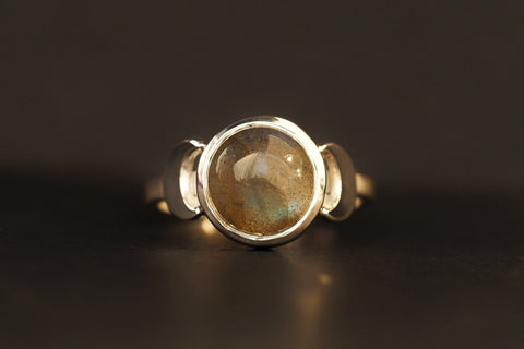 Labradorite and Crescent Moon Ring