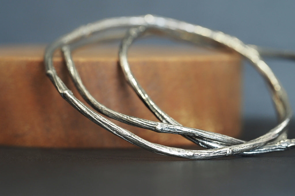 Twig Bangle Oxidised Silver
