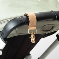 Stroller hooks, natural leather