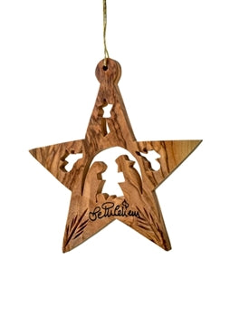 Star With Nativity and Angels 3""