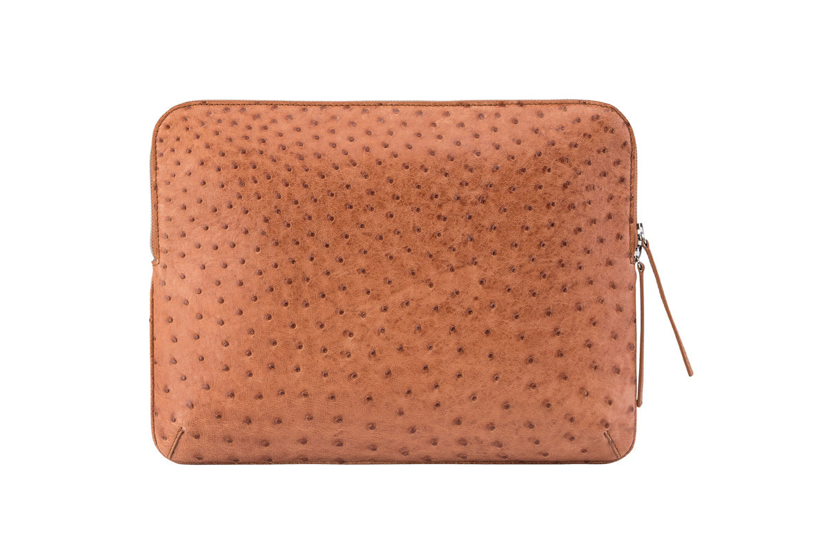 Genuine Ostrich Medium Zip Around Clutch