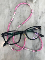 Breast Cancer Now Rose Quartz and Pink Glasses Chain