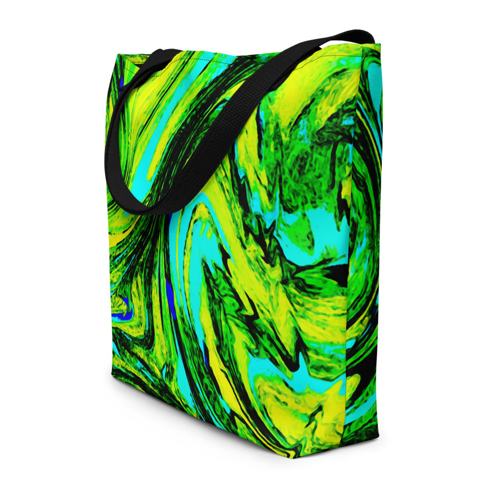 Neon Green Swirl Tote Bag