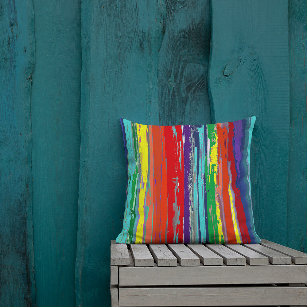 Crayon Striped Abstract Premium Pillow