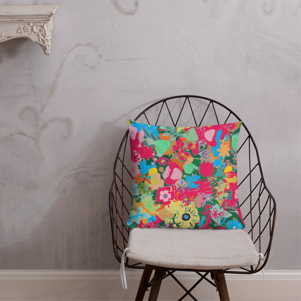 Abstract Pink Floral Premium Pillow