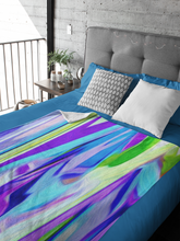 Load image into Gallery viewer, Abstract in Green, Blue and Purple Throw Blanket