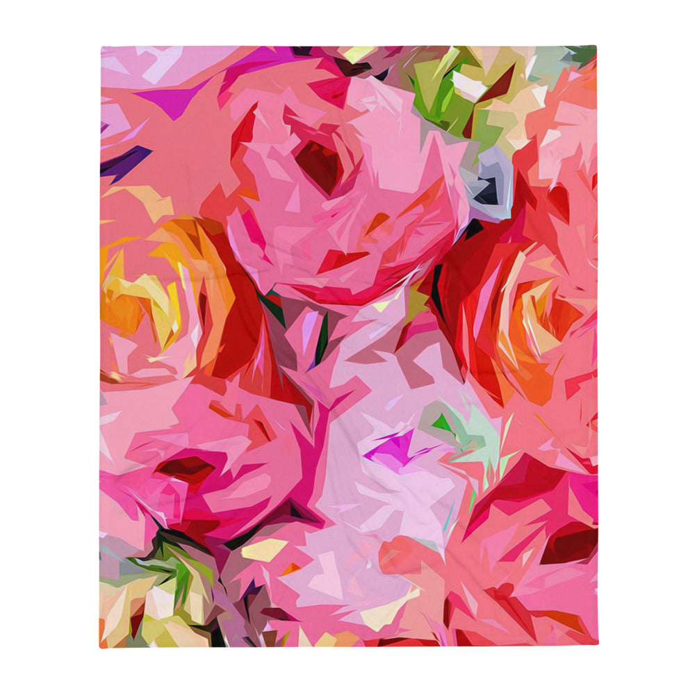Abstract Rose Floral Throw Blanket