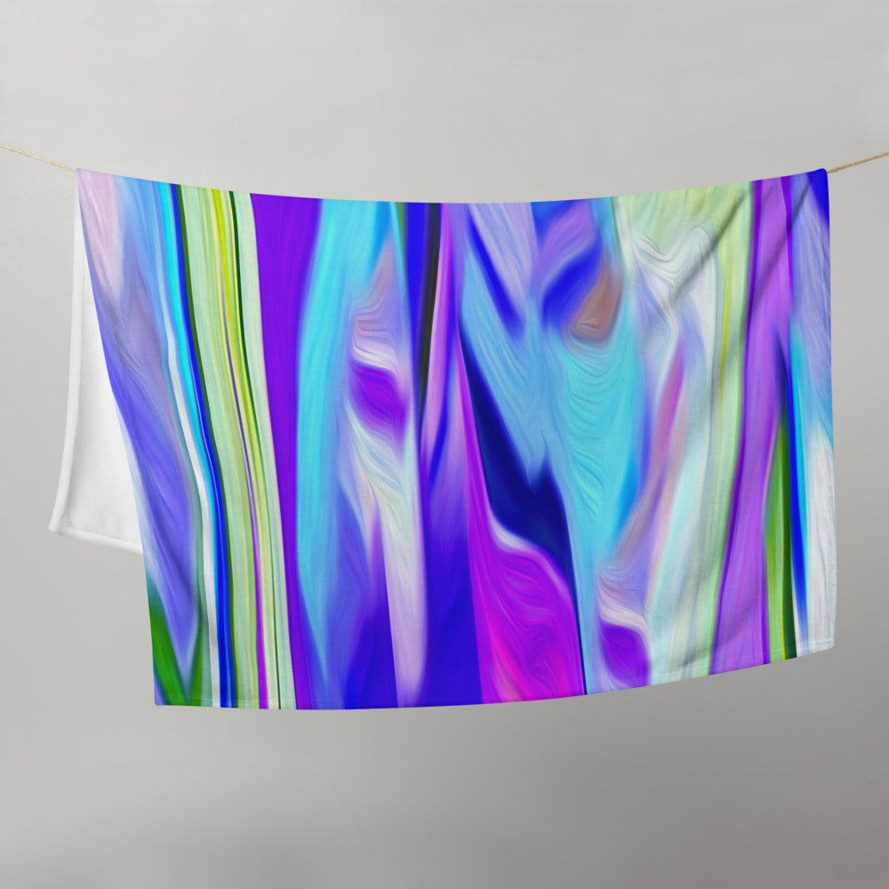 Abstract in Green, Blue and Purple Throw Blanket