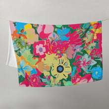 Load image into Gallery viewer, Abstract Pink Floral Throw Blanket
