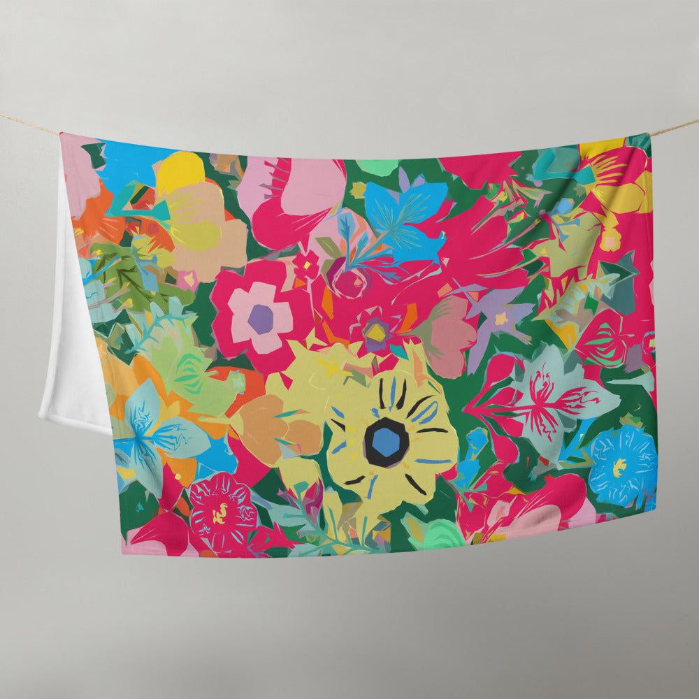 Abstract Pink Floral Throw Blanket