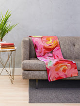 Load image into Gallery viewer, Abstract Rose Floral Throw Blanket