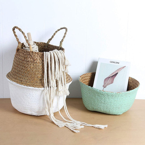 Dechen- Painted Rattan Seagrass Storage Basket