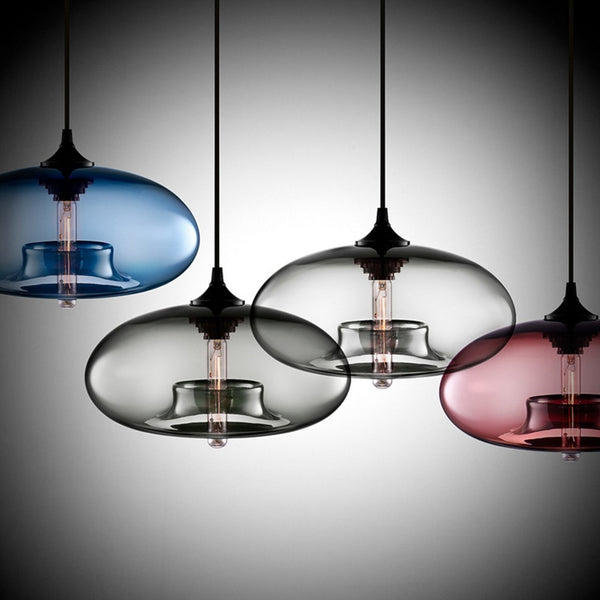 Modern Oval Hanging Glass Pendant Light
