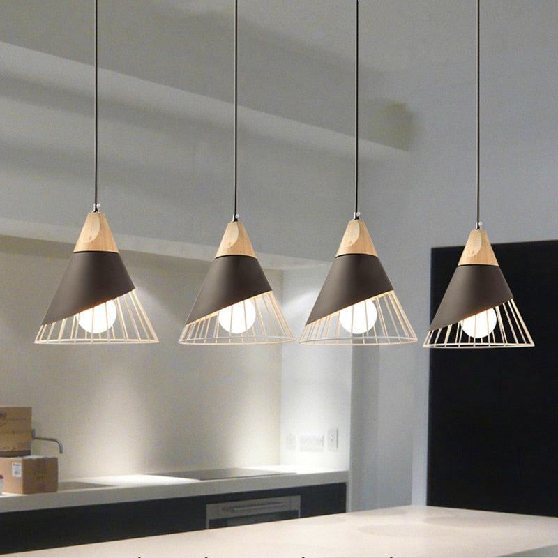 Gitty- Modern Aluminum & Wood Nordic Hanging Pendant Light With Shade
