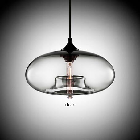 Clear Modern Oval Hanging Glass Pendant Light