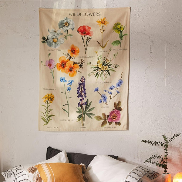Botanical Wildflower Wall Hanging Tapestry