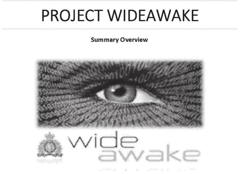Internal RCMP documentation of Project Wide Awake with a scary-ass logo