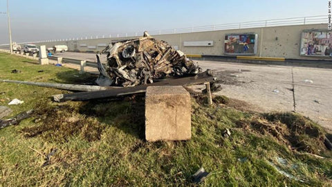 Wreckage caused by the U.S. drone strike that killed Qassem Soleimani and another Iranian military official outside of an airport in Tehran