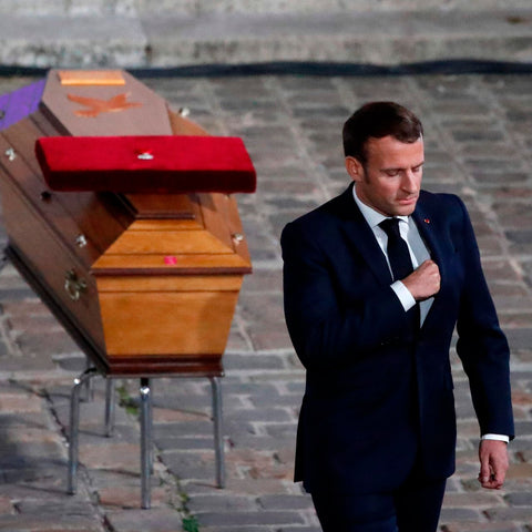 French president Emmanuel Macron pays tribute to Samuel Paty