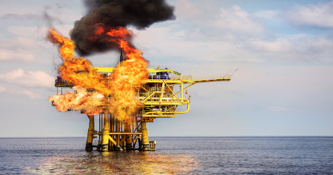 An oil rig on fire, not sure which one, this is mostly just here for the metaphor