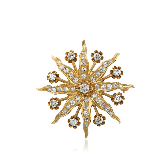 14KY Diamond Victorian Star Brooch Pendant