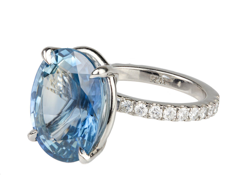 16.5 Carat Untreated Sapphire & Platinum Diamond Ring