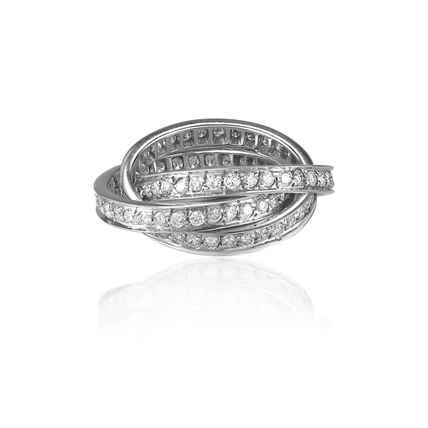 18k White Gold 3 CTTW Diamond Rolling Ring